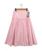 BORDERS AT BALCONY(ボーダーズアットバルコニー)の古着「コットンコルセットヨークギャザースカート」|ピンク