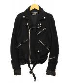 JUNYA WATANABE COMME des GARCONS(ジュンヤワタナベ コムデギャルソン)の古着「圧縮ウールライダースジャケット」|ブラック
