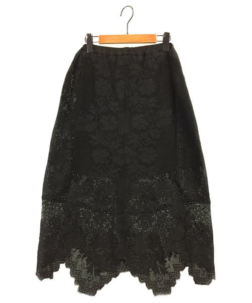 PLACE NATIONALE(プレースナショナル)PLACE NATIONALE (プレースナショナル) ヴィンテージレースロングスカート ブラック サイズ:1の古着・服飾アイテム