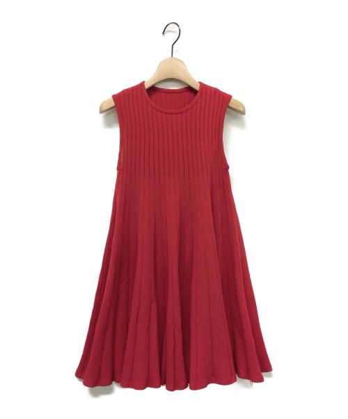 ADORE(アドーア)ADORE (アドーア) ストレッチプリーツニット レッド サイズ:38 未使用品の古着・服飾アイテム