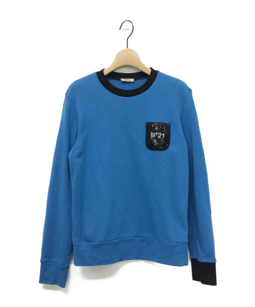 N°21(ヌメロ ヴェントゥーノ)N°21 (ヌメロ ヴェントゥーノ) スパンコールスウェット ブルー サイズ:14の古着・服飾アイテム