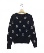 EMMEL REFINES(エメル リファインズ)の古着「EMロゴクルーネックニット」|ブラック