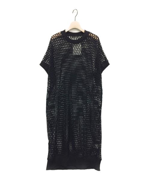 Y's(ワイズ)Y's (ワイズ) オーバール柄ラッセルワンピース ブラック サイズ:2の古着・服飾アイテム