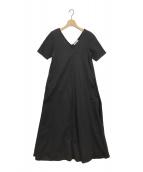 Mila Schon BLUE LABEL(ミラ ショーン ブルーレーベル)の古着「天竺フレアマキシバックシャンワンピース」|ブラック