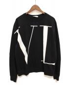 VALENTINO(バレンティノ)の古着「ラージVLTNロゴクルーネックスウェット」|ブラック