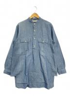 MARKAWARE(マーカウェア)の古着「ノーカラープルオーバーサファリシャツ」|ブルー