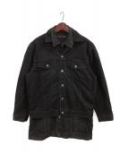 MINEDENIM(マインデニム)の古着「レイヤードロングデニムジャケット」|ブラック