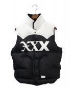 GOD SELECTION XXX(ゴットセレクショントリプルエックス)の古着「ダウンベスト」|ブラック×ホワイト