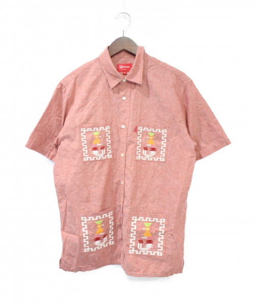 Supreme(シュプリーム)Supreme (シュプリーム) 刺繍半袖 キューバシャツ レッド サイズ:Mの古着・服飾アイテム