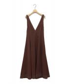 LE CIEL BLEU(ルシェルブルー)の古着「Stitch Plunge Neck Dress」|ブラウン