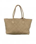 FALORNI(ファロルニ)の古着「編み込みレザートートバッグ」|ベージュ