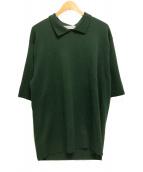 ()の古着「プレーティングニットポロ」|グリーン