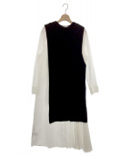 ELENDEEK(エレンディーク)の古着「プリーツセットワンピース」 ホワイト×ブラック