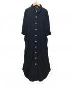 Emma Taylor(エマテイラー)の古着「シェルボタンシャツドレス」|ネイビー