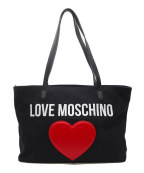 LOVE MOSCHINO(ラブモスキーノ)の古着「キャンバストートバッグ」 ブラック×レッド