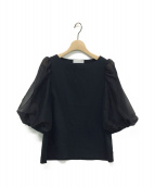 CELFORD(セルフォード)の古着「シアースリーブコンビカットソー」|ブラック