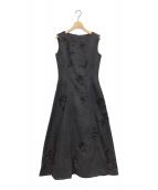 CELFORD(セルフォード)の古着「フラワープリント刺繍ドレス」|ネイビー