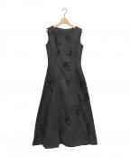 CELFORD()の古着「フラワープリント刺繍ドレス」 ネイビー