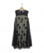 GRACE CLASS()の古着「ラメ刺繍レイヤードワンピース」|ブラック