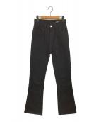 HOLIDAY(ホリデイ)の古着「ハイウエストスキニーフレアデニムパンツ」|ブラック