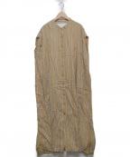 ticca(ティッカ)の古着「ノーカラーフレンチスリーブワンピース」|キャメル