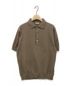 LENO(リノ)の古着「ポロカラーハーフスリーブセーター」|ベージュ