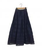 eimy istoire(エイミーイストワール)の古着「シアーボーダーレースフレアスカート」|ネイビー