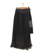 KOLOR(カラー)の古着「ベルテッドプリーツスカート」|ネイビー