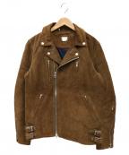 DELUXE(デラックス)の古着「スウェードダブルライダースジャケット」|ブラウン
