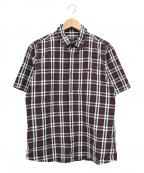 BURBERRY BLACK LABEL()の古着「半袖シアサッカーチェックシャツ」|ネイビー