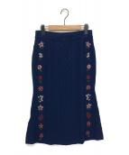 ALTUZARRA(アルチュザラ)の古着「フラワー刺繍ニットスカート」 ミッドナイト