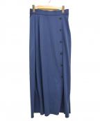 DES PRES(デプレ)の古着「コットンジャージーサイドボタンロングスカート」|ブルー