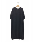 SHAINA MOTE(シャイナモート)の古着「ドレープロングワンピース」|ブラック