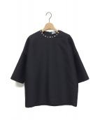 REYC(リック)の古着「パール&ビジューブラウス」|ブラック