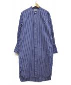 JOHN SMEDLEY(ジョンスメドレー)の古着「ストライプシャツワンピース」|ネイビー