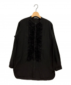 Toujours(トゥジュー)の古着「コットンシルクバンドカラーフリルシャツ」|ブラック