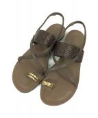 RIM.ARK(リムアーク)の古着「Enboss low heel sandal」|ブラウン