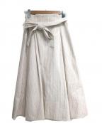 MICHEL KLEIN(ミッシェルクラン)の古着「ベルト付ストライプスカート」|ベージュ