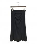 LANVIN en Bleu(ランバンオンブルー)の古着「ドレープタイトスカート」|ネイビー