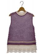 mame kurogouchi(マメ クロゴウチ)の古着「ノースリーブニット」|パープル