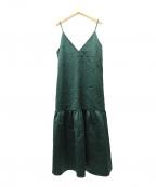 LE CIEL BLEU(ルシェルブルー)の古着「サテンロウギャザードレス」 グリーン