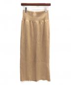 EVERYDAY I LIKE(エヴリデイ アイ ライク)の古着「ハーフミラノニットスカート」 ベージュ