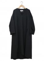 ENFOLD()の古着「スポンジダブルクロススリットVネックドレス」 ブラック