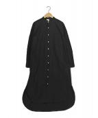 Traditional Weatherwear(トラディショナルウェザーウェア)の古着「ノーカラーロングスリーブワンピース」|ブラック