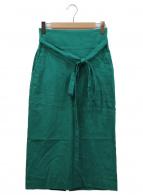 SACRA(サクラ)の古着「コットンリネンストレッチタイトスカート」|グリーン