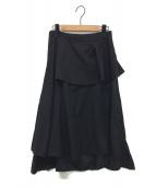 noir kei ninomiya(ノワール ケイ ニノミヤ)の古着「ウールギャバドレープスカート」|ブラック