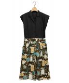 Lois CRAYON(ロイスクレヨン)の古着「マリンプリントオールインワン」|ブラック
