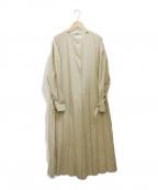 LE PHIL(ル フィル)の古着「プリーツノーカラーコート」 ベージュ