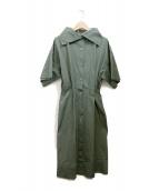 ()の古着「シャツワンピース」|グリーン