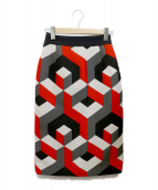 GRACE CLASS(グレースクラス)の古着「幾何ジャガードタイトスカート」|レッド